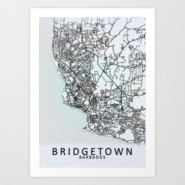 Bridgetown, Barbados, White, City, Map Art Print