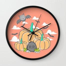 Cute Bat Pumpkin Scene Halloween | Funny & Great Gift Wall Clock