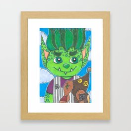 Young Goblin with stuffed dog Framed Art Print