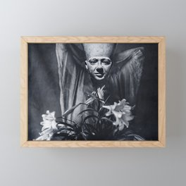 Statue and Flower Framed Mini Art Print