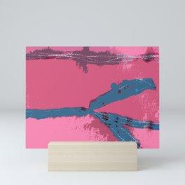 Pink Silk Barbed Wire, fiber art mixed media, abstract Mini Art Print