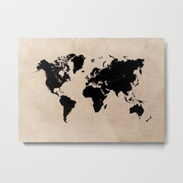world map 94 black #worldmap #map #world Metal Print