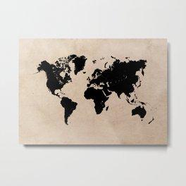 world map 94 black #worldmap #map #world Metal Print