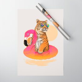 Chillin (Flamingo Tiger) Wrapping Paper