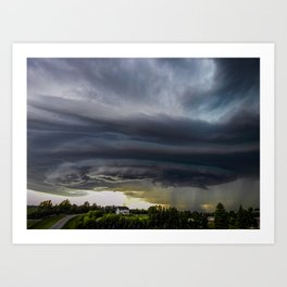Storm Grows North of Bismarck North Dakota Art Print