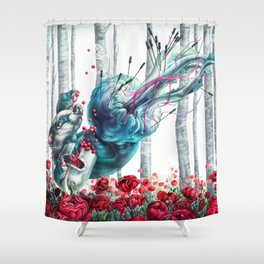 Death of a Greedy Water Badger Shower Curtain