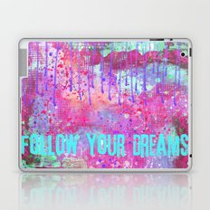 Follow your dreams colorful typography art Laptop & iPad Skin