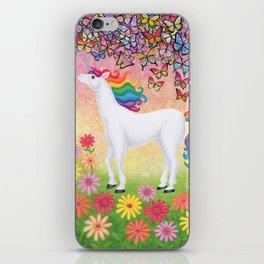 whimsy (rainbow unicorn), butterflies, African daisies iPhone Skin