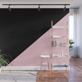 Black & Soft Pink - oblique Wall Mural
