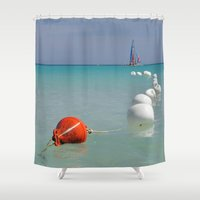 cuba Shower Curtains featuring cuba, beach by frenchtoy