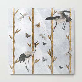 Cranes, Butterflies and Dragonflies Metal Print