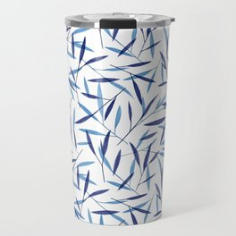 Blue Bamboo Leaves Travel Mug