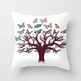 Butterflies tree Throw Pillow