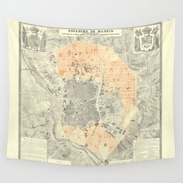 Vintage Map Print - Plan of the City of Madrid, 1861 Wall Tapestry