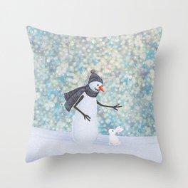 snowman and white rabbit Throw Pillow