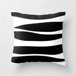 Irregular Stripes Black White Waves Art Design Throw Pillow