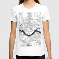 seoul T-shirts featuring Seoul Map Gray by City Art Posters