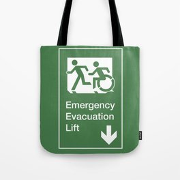 Accessible Means of Egress Icon, Emergency Evacuation Lift / Elevator Sign Tote Bag