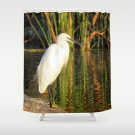 Egret at the lake Shower Curtain