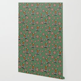 Green Deer pattern with Stars Wallpaper