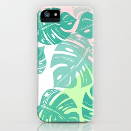 Linocut Monstera Tricolori iPhone Case