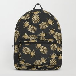Modern chalk black elegant faux gold pineapple pattern Backpack