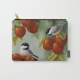 Chickadees and Apple Tree Harvest Carry-All Pouch