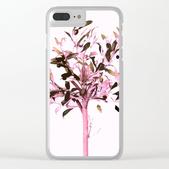 Little olive tree with pink tones on a white background Clear iPhone Case