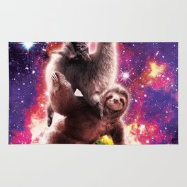 Space Cat Llama Sloth Riding Taco Rug