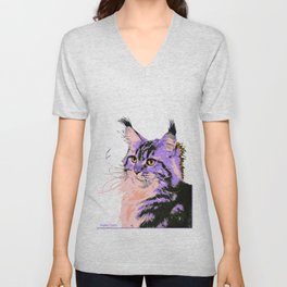 Maine Coon Cat Purple/Peach/Black Unisex V-Neck