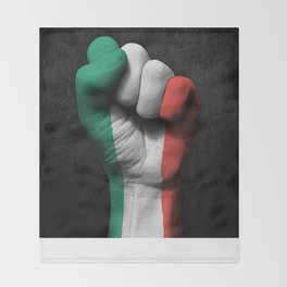 Italian Flag on a Raised Clenched Fist Throw Blanket