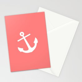 Coral Anchor Stationery Cards