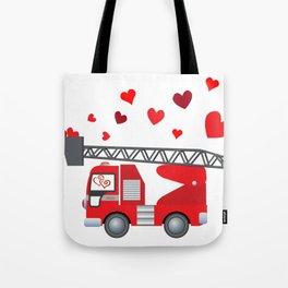 Valentine's Day Firetruck Hearts Gift Kids Boys Tote Bag