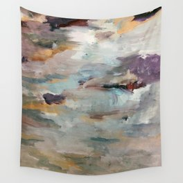 Gentle Beauty [3] - an elegant acrylic piece in deep purple, red, gold, and white Wall Tapestry
