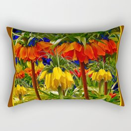 COFFEE BROWN YELLOW & ORANGE CROWN IMPERIALS GARDEN Rectangular Pillow
