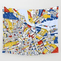 mondrian Wall Tapestries featuring Amsterdam Mondrian by Mondrian Maps