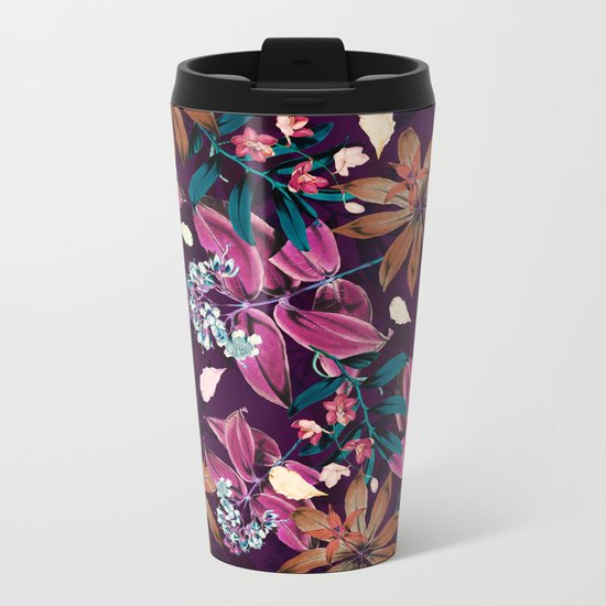 FLORAL PATTERN V Metal Travel Mug