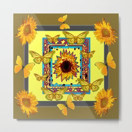 WESTERN STYLE BUTTERFLIES-SUNFLOWERS ART Metal Print