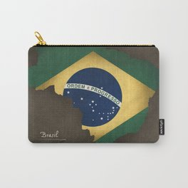 Brazil map special vintage artwork style with flag illustration Carry-All Pouch