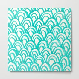 Minty Scales of the Sea Metal Print