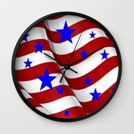 PATRIOTIC JULY 4TH BLUE STARS DECORATIVE ART Wall Clock