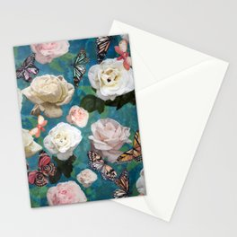 White Roses and Butterflies Stationery Cards