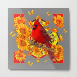 BUTTERFLIES  RED CARDINAL YELLOW SUNFLOWERS Metal Print