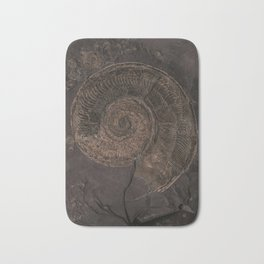 Brown rock with shells Bath Mat