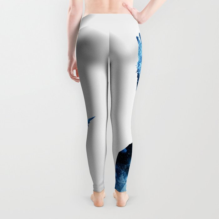 Howling Wolf blue sparkly smoke silhouette Leggings