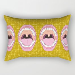 Mouth wide opened on Gold-leaf Screen Rectangular Pillow