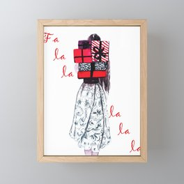 Xmas cards, Fa la la, Red gifts Framed Mini Art Print