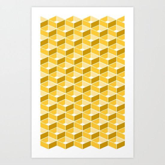 Simple Pattern Yellow Art Print