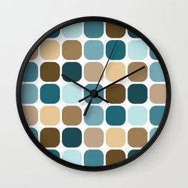 Mid Century Modern Rounded Square Tile Pattern // Brown, Caribbean Blue, Aqua Wall Clock