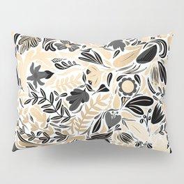 Gold Black Floral Leaves Illustration Pattern Pillow Sham